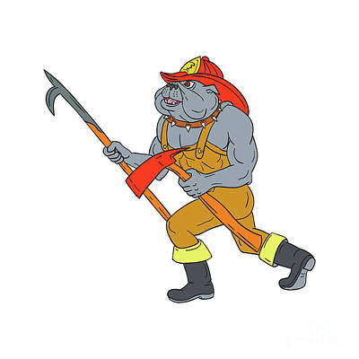 Walking Dog Digital Art - Bulldog Firefighter Pike Pole Fire Axe Drawing by Aloysius Patrimonio
