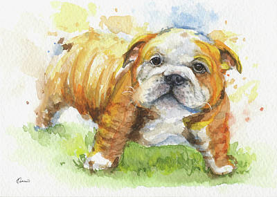 Watercolor Pet Portraits Painting - Bulldog by Kathleen Wong