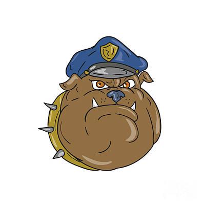 Police Dog Digital Art - Bulldog Policeman Head Cartoon by Aloysius Patrimonio