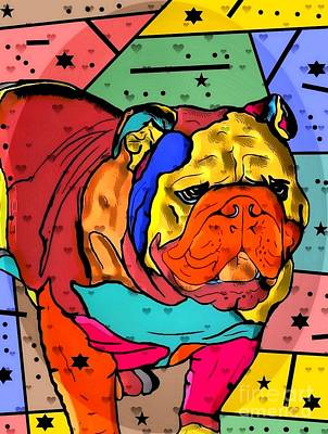 Digital Art - Bulldog Popart By Nico Bielow by Nico Bielow