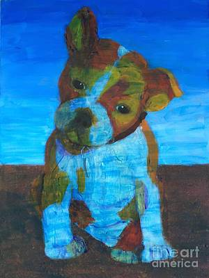 Art Print featuring the painting Bulldog Puppy by Donald J Ryker III