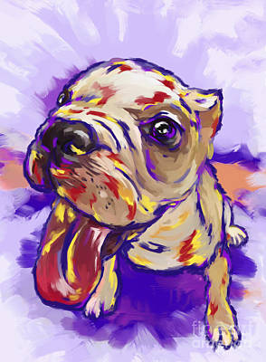 Painting - Bulldog Puppy by Tim Gilliland