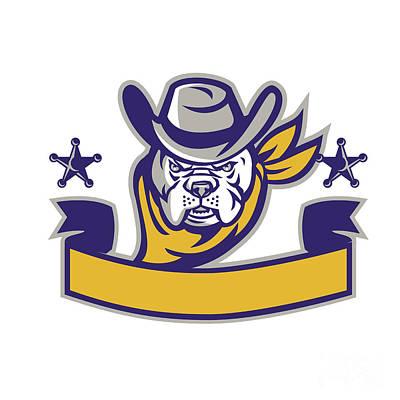 Police Dog Digital Art - Bulldog Sheriff Cowboy Head Banner Retro by Aloysius Patrimonio
