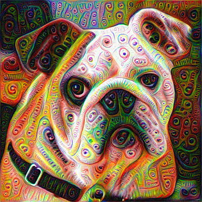 Mixed Media - Bulldog Surreal Deep Dream Image by Matthias Hauser