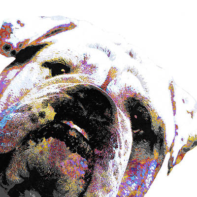 Puppy Mixed Media - Bulldog - White by Stacey Chiew