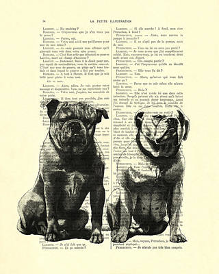 Bulldog Art Digital Art - Bulldogs, Two Dogs Sitting Black And White Vintage Illustration by Madame Memento