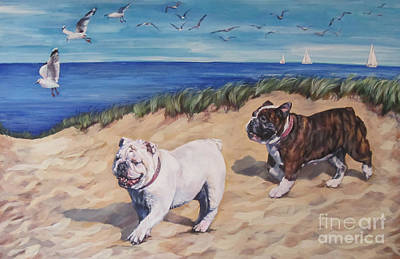 English Bulldog Painting - Bulldogs On The Beach by Lee Ann Shepard