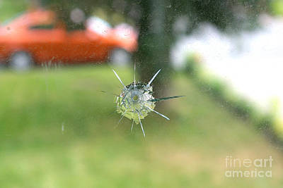 Photograph - Bullet Hole In Residential Windowpane by Scimat