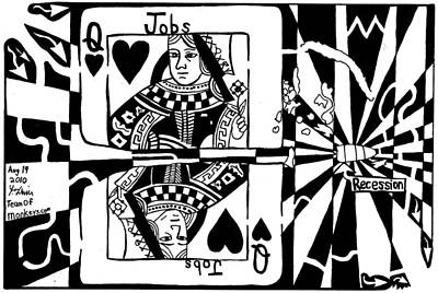 Economy Mixed Media - Bullet Thru The Queen Of Hearts...recessions Effect On Jobs By Yonatan Frimer by Yonatan Frimer Maze Artist