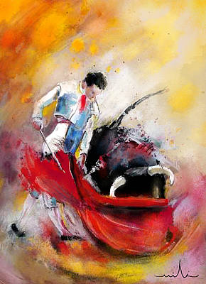 Torero Wall Art - Painting - Bullfight 73 by Miki De Goodaboom