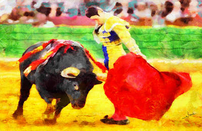 Fence Painting - Bullfighting by George Rossidis