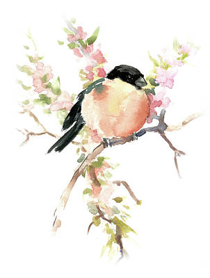 Painting - Bullfinch In The Spring by Suren Nersisyan