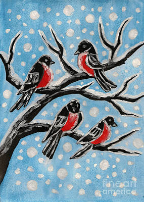 Painting - Bullfinches On Branch, Painting by Irina Afonskaya