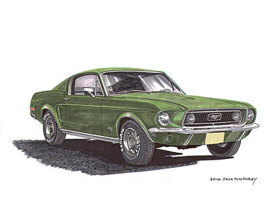 Columbus Drawing - Bullitt 1968 Big Block Mustang by Jack Pumphrey