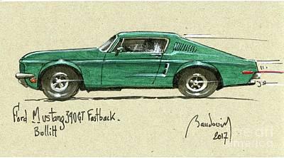 919 Painting - Bullitt Ford Mustang Fastback 1968 #2 by Alain Baudouin