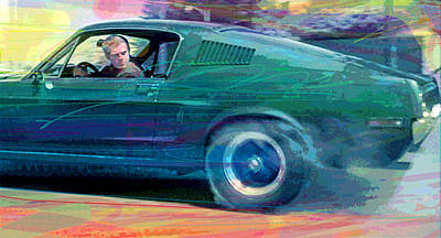 Steve Painting - Bullitt Mustang by David Lloyd Glover