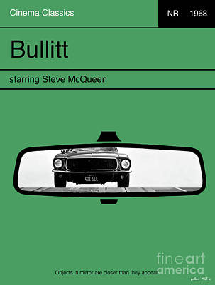 Hawk Mixed Media - Bullitt, Steve Mcqueen, Minimalist Movie Poster by Thomas Pollart