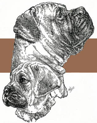 Mixed Media - Bullmastiff And Pup by Barbara Keith