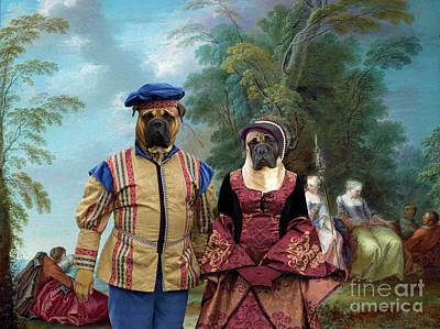 Painting - Bullmastiff Art Canvas Print - The Bride Is Courted by Sandra Sij