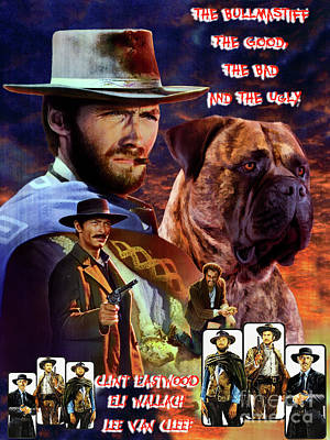 Painting - Bullmastiff Art Canvas Print - The Good, The Bad And The Ugly Movie Poster by Sandra Sij