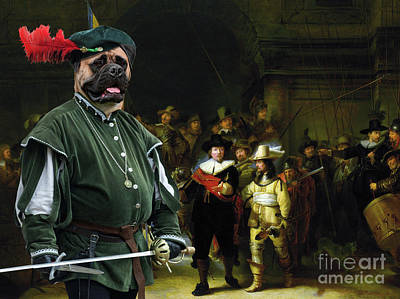 Painting - Bullmastiff Art Canvas Print - The Night Watch by Sandra Sij