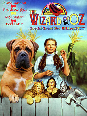 Painting - Bullmastiff Art Canvas Print - The Wizard Of Oz Movie Poster by Sandra Sij