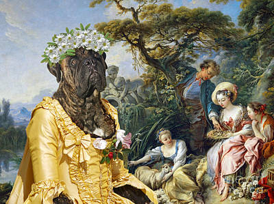 Painting - Bullmastiff Art Canvas Print - The Young Society by Sandra Sij