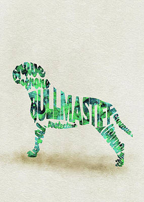 Mastiff Painting - Bullmastiff Watercolor Painting / Typographic Art by Inspirowl Design