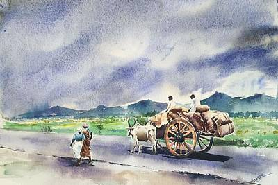 Bullock-cart Painting - Bullock Cart by George Jacob
