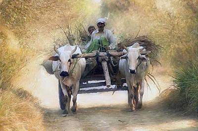 Bullock Cart Art Print by Shreeharsha Kulkarni