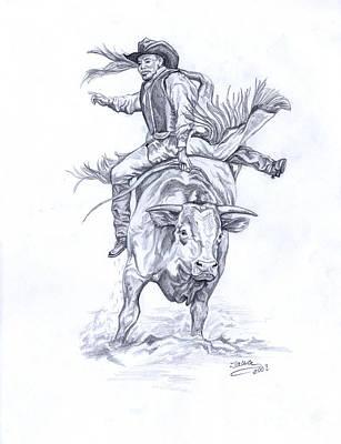 Oklahoma Drawing - Bullrider by Jana Goode