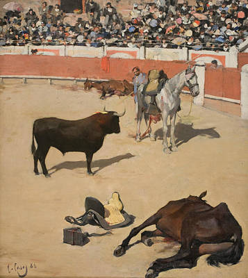 Spanish Art Painting - Bulls  by Ramon Casas