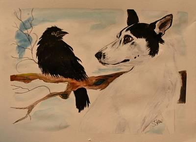 Painting - Bullseye And Baby Poe by Susan Snow Voidets