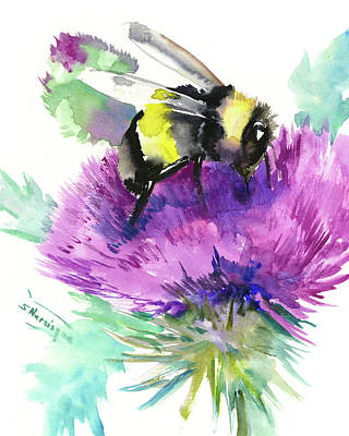 Painting - Bumbelbee And Thistle Herb Flower by Suren Nersisyan