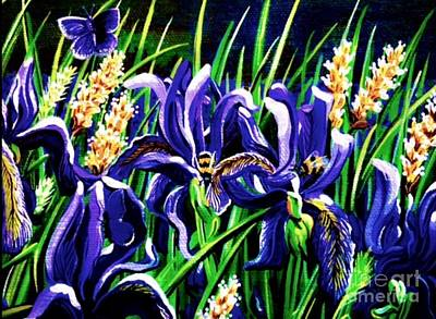 Painting - Bumble Bee Iris by Jennifer Lake