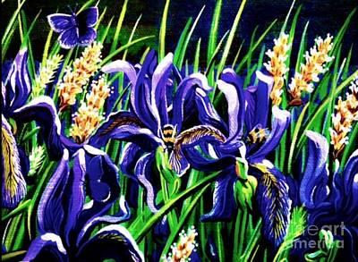 Painting - Bumble Bee Iris by Jennifer Lake