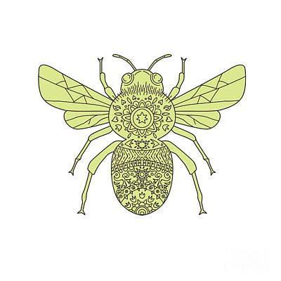 Genus Digital Art - Bumble Bee Mandala by Aloysius Patrimonio