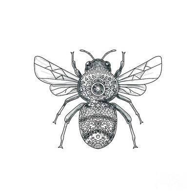 Genus Digital Art - Bumble Bee Mandala Tattoo by Aloysius Patrimonio