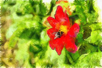 Bee Painting - Bumblebee On The Flower - Pa by Leonardo Digenio