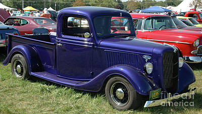 Purple V8 Photograph - Bumper To Bumper - '36 Ford Truck by Kathy Carlson