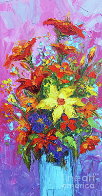 Colorful Wildflowers, Abstract Floral Art Art Print by Patricia Awapara