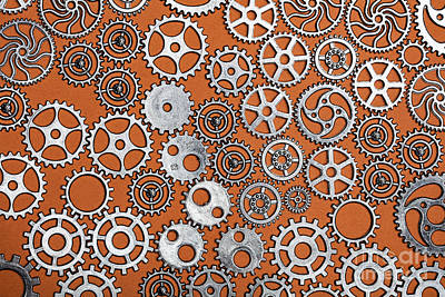 Photograph - Bunch Of Cogwheels On An Orange Background. by Michal Bednarek