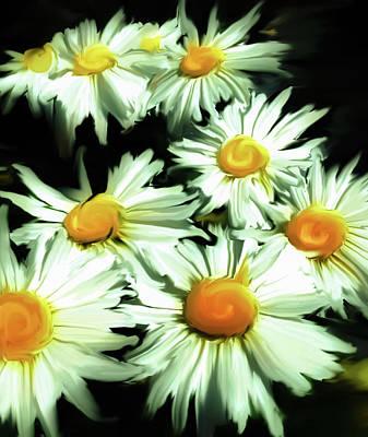 Daisy Photograph - Bunch Of Daisies Golden by Heather Joyce Morrill