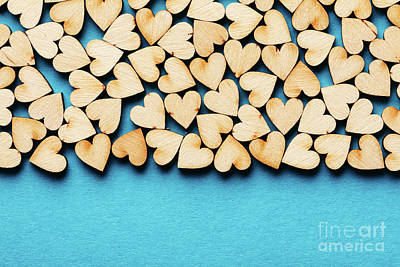 Photograph - Bunch Of Hearts On Blue Background. by Michal Bednarek