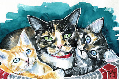 Painting - Bunch Of Love - Cat Painting by Dora Hathazi Mendes