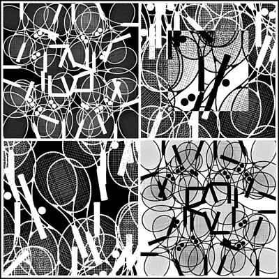 Tennis Racket Drawing - Bunch Of Tennis Racket Poster by Nenad Cerovic