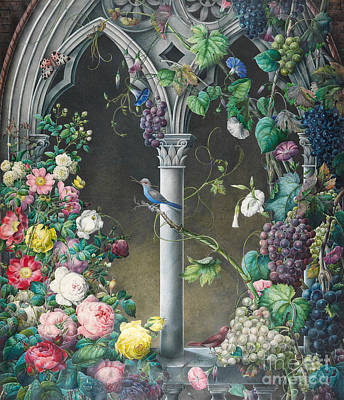 Bunches Of Roses Ipomoea And Grapevines Art Print by Eugene Joseph Prevost