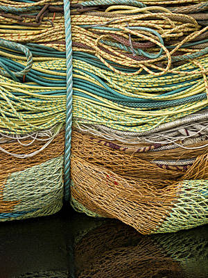 Bundle Of Fishing Nets And Ropes Art Print by Carol Leigh
