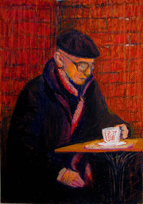 Pastel - Bundled Old Man With Coffee by Art Nomad Sandra  Hansen