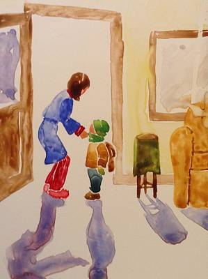 Bundled Up For School Art Print by Marilyn Jacobson